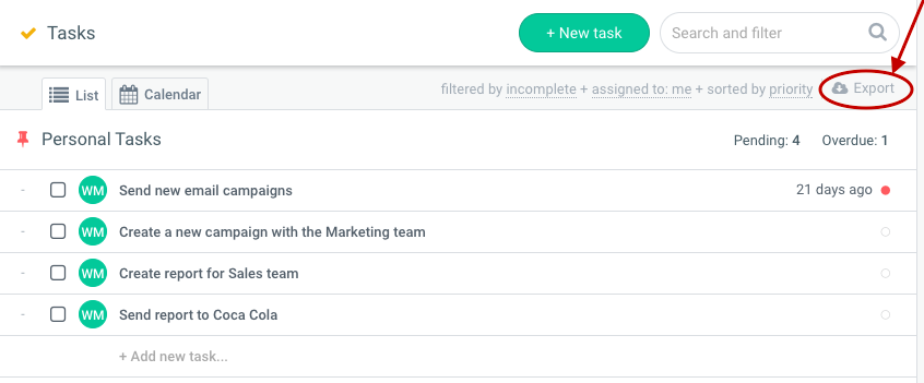 Hibox time tracking, Hibox export tasks